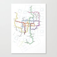 Minneapolis Skyway Map Canvas Print