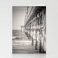 Fishing Pier Surf City Beach Topsail Island NC Sepia Black & White Stationery Cards