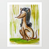 Perro mujer Art Print