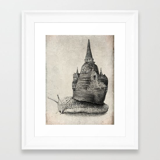 The Snail's Dream (monochrome option) Framed Art Print