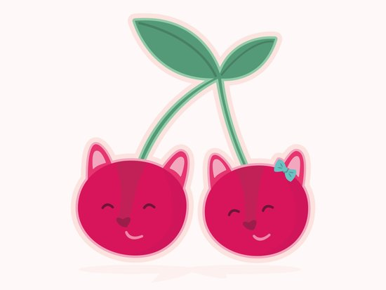 Cherry kitties Art Print