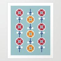Scandinavian inspired flower pattern - blue background Art Print