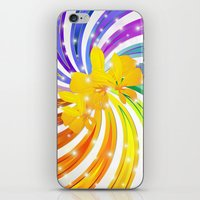 Exotic Flower on Rainbow Glitter Spiral iPhone & iPod Skin