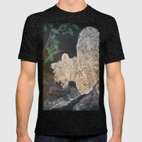 Leopard Caught In The Li… Mens Fitted Tee Tri-Black SMALL