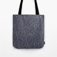 Speckles I: Dark Gold & Snow on Blue Vortex Tote Bag