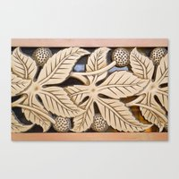 Bronze Art Deco Leaves Canvas Print