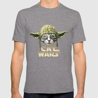 Cat Wars Mens Fitted Tee Tri-Grey SMALL