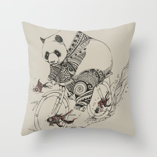 Panda and Follow Fish Throw Pillow