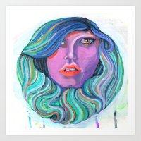 Pretty Oceanic Ombre Fac… Art Print