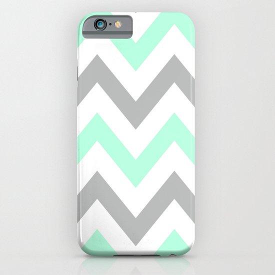 MINT & GRAY CHEVRON iPhone & iPod Case