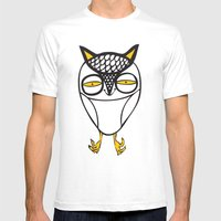 Satisfied  Owl Mens Fitted Tee White SMALL