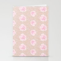 Watercolor Roses on Blush with French Script Stationery Cards