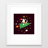 Space Christmas Framed Art Print
