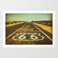 Route 66 Road Marker Art Print
