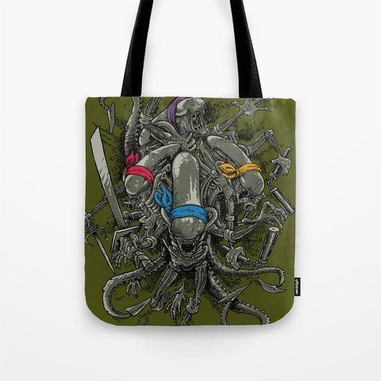 Ancient Ninja Xenomorphs Tote Bag