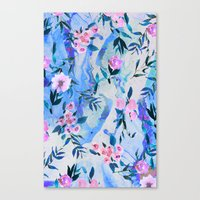 Floral Marble Swirl Canvas Print