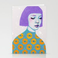 purple Stationery Cards featuring The Observer by Natalie Foss
