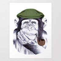 Wise Mr. Chimp Art Print