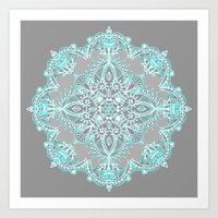 Teal And Aqua Lace Manda… Art Print