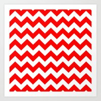 chevron Art Prints featuring Chevron (Red/White) by 10813 Apparel