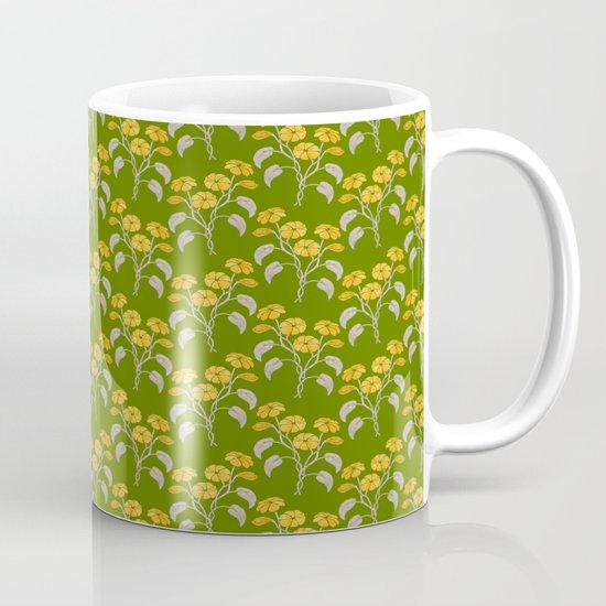 Flowers Green Pattern Mug