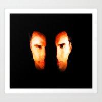 Face Off - Portrait Painting Style Art Print