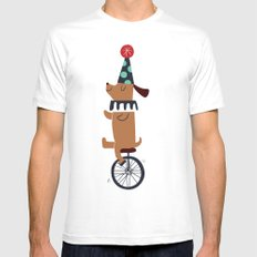circus dog White SMALL Mens Fitted Tee