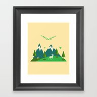 Nature & Mountains Vecto… Framed Art Print