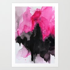 Pink & Black Abstract Wa… Art Print