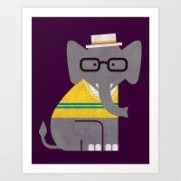 Rodney the preppy elephant Art Print