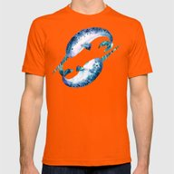 Blue Narwhals Mens Fitted Tee Orange SMALL