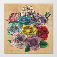 Flowers in Roses Canvas Print