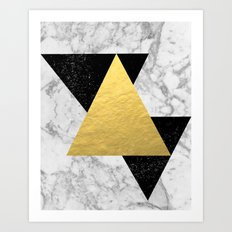 Marble Tri Black & Gold - gold foil, gold, marble, black and white, trendy, luxe, gold phone Art Print