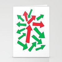 red arrow over green Stationery Cards