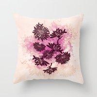 Peonies (black On Pink) Throw Pillow