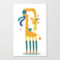 The bird and the giraffe Canvas Print