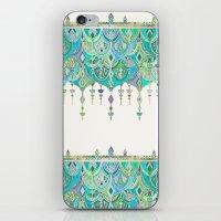 Art Deco Double Drop in Jade and Aquamarine on Cream iPhone & iPod Skin