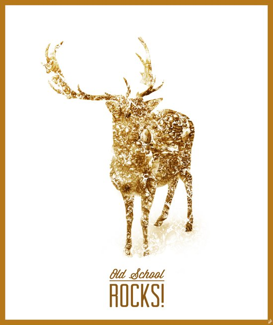 Old School Rocks! Gold Deer Version Canvas Print