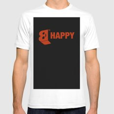 B-HAPPY #2 SMALL Mens Fitted Tee White