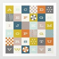 Block Alphabet - in Rust Art Print