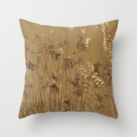 Thin Branches Sepia Throw Pillow