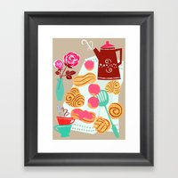 Buns, coffee and romance Framed Art Print