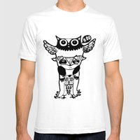 Badass Owls Mens Fitted Tee White SMALL