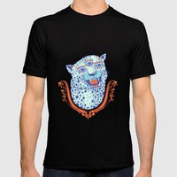 Cat Glasses Mens Fitted Tee Black SMALL