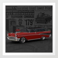 1957 #Chevy #Nomad Hot R… Art Print