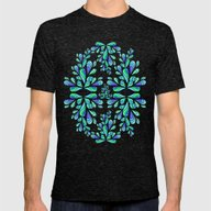 Blue Drops. Mens Fitted Tee Tri-Black SMALL
