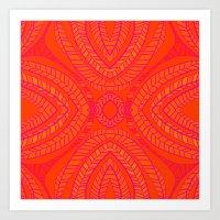 Orange Leaves Pattern Art Print