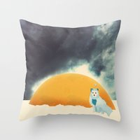 Arctic Fox Stumbles Upon A Meteorite Throw Pillow