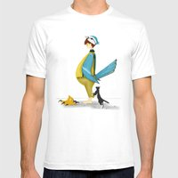 Blue Chickadee Mens Fitted Tee White SMALL