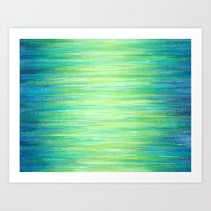 Blue Green Ombre Art Painting Print Art Print